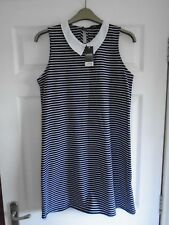 BNWT £14 Black & White 60's hoops sleeve-less collared swing/flared dress UK 18