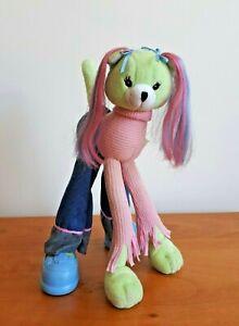Vintage Barbie Long Legged Pose Me Pet Plush Green Dog 2002 Mattel
