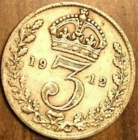 1912 UK GREAT BRITAIN SILVER THREEPENCE