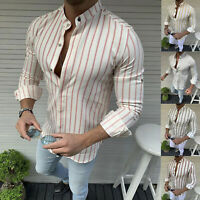 Men Slim Fit Shirt Long Sleeve Casual Formal Striped Shirt Top Blouse Tee Summer