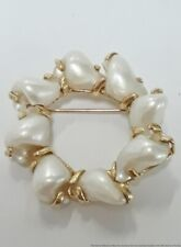 14K Yellow Gold Mother Of Pearl Shell Vintage Ladies Circle Pin 6.6g Jewelry