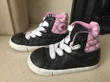 Converse All Star Toddler Girls Pink & Black Leather Hi Top Trainers Size 8