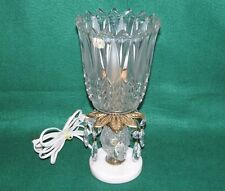 CRYSTAL PRISM LAMP NIGHT LIGHT BOHEMIA GLASS BRASS MARBLE BASE VINTAGE ROMANIA