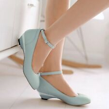 Size 4-11 Women's Kitten Heel Ankle Strap Retro Mary Janes Casual Shoes Fashion