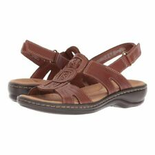 Clarks 34084 Leisa Vine Sandals Womens Dark Tan Leather 8.5