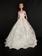 Ivory and Lace Dress with Pink Ribbon and Straps Made to Fit Barbie Doll