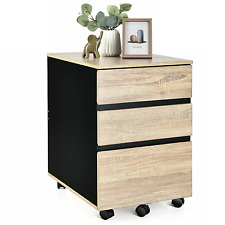 3 Drawers Mobile File Storage Organizer Cabinet Nightstand Home Office Furniture