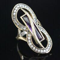 Goldenstar 0.72Ct Multi Color Diamond Ring 925 Sterling Silver