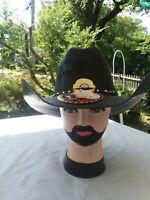 MEN'S WESTERN BLACK COWBOY RODEO HAT. RANCH STYLE COWBOY HAT. SOMBRERO VAQUERO