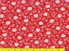 White Roses on Watermelon Red Floral Quilting Fabric by Yard  #522-2