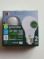 (2x) LED Bulb 3 Way 40/60/100W - Replacement 4W/8W/14W LED - Greenlite BRAND NEW