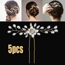 5x Wedding Bridal Hair Comb Crystal Pearl Headpiece Side Hair Pin Clip Accessory