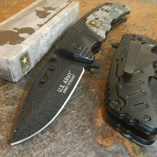 US ARMY Spring Assisted Open HAMMER FINISHED Tactical Folding Pocket Knife CAMO