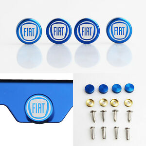 Laser Etched 4pcs Blue Aluminum Fiat License Plate Frame Fastener Screws Cap