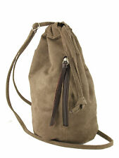 LONI Manc Maid Backpack Handbag Drawstring Sling Bag in Suede Faux Leather