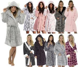 Soft Fleece Dressing Gown Warm Cosy Winter Hooded Bathrobe Nightwear UK 8-26