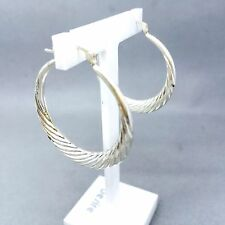 "STUNNING 925 STERLING SILVER FULL LOOP ""TWIST PATTERN"" LADIES EARRINGS  1089"