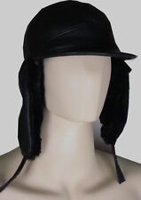 GENUINE LEATHER WINTER BOMBER AVIATOR TROOPER RUSSIAN CAP SKI HAT XXL