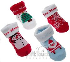 Christmas Baby Bootees Booties Socks Red White Father Christmas Snowman New Gift