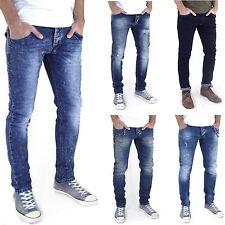 Neu Herren Super Slim Skinny Röhren-Jeans enge Marken Stretch Hose Blau