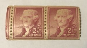 Thomas Jefferson 2 Cent Red Stamps Unused Lot Of 2 Very Rare Unused Near Mint