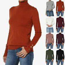 TheMogan Button Slit Cuff Long Sleeve Turtle Neck Ribbed Knit Sweater Fitted Top