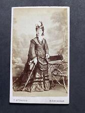 Victorian Carte De Visite CDV Elegant Lady: Interesting Back Attwood: Birmingham