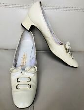 8.5 Vtg 50s 60s Naturalizer Women'S Shoes Butter Cream yellow Narrow Bow Lace Up