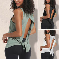 Women Sport Vest Yoga Top Sleeveless T-Shirt Blouse Fitness Gym Backless Tank LC