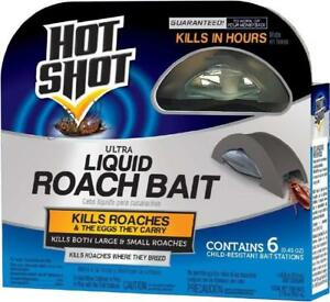 HOT SHOT ULTRA LIQUID ROACH BAIT  - 6 COUNT - KILLS ROACHES FAST!!