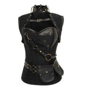 Adjustable Steampunk Overbust Corset Steel Boning Gothic Plus Size Bustier Top