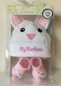 Little Me Hat & Booties Set Pink Gray Bunny First Easter size 0-12m baby shower