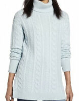 NWT HALOGEN Women's Over-Sized Cable Knit Turtleneck Sweater Blue Size XS