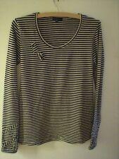 tee shirt Eliane et Lena taille 40 manches longues noir et blanc rayé