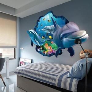 3D Wall Sticker Dolphin Removable Vinyl Decal Art Room Window Home Decor SG