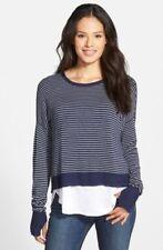 Eileen Fisher Crew Neck Box Top Sweater Sz PL Cozy Viscose Stretch Stripe New