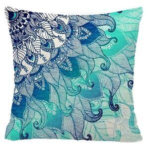 "Cushion Cover Mandala Blue Gray Home Decor Yellow Black Throw PILLOW CASE 18x18"""