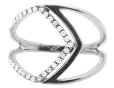 Women's 10K White Gold One-Row Pave Genuine Diamond Cocktail Ring 0.17CT