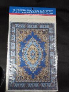 "DOLLHOUSE MINIATURE TURKISH CARPET BLUE/BEIGE 7"" x 11"" S & C Emren Collections"