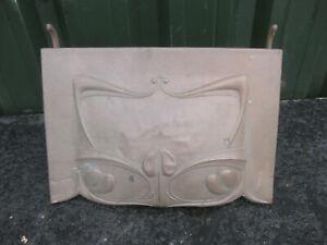 Old Vintage Antique Fireplace Metal Copper Back Hood Copper Art Nouveau