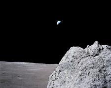 Apollo 17 Erde über Mond mit / Felsbrocken Nasa 8x10 Silber Halogen Fotodruck