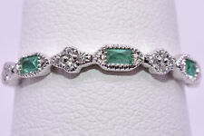 Emerald & Diamond Stackable Band Ring in 18K White Gold