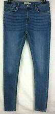 Topman Spray On Skinny Jeans W34 Leg XL Blue Long Leg Zip Fly