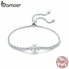 BAMOER 100% Sterling Silver Bracelet Shining Leaves With CZ For Women Jewelry