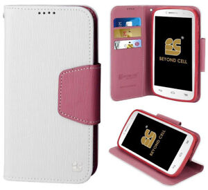 WHITE PINK INFOLIO WALLET CREDIT CARD ID CASH CASE STAND FOR MOTO-G 2nd GEN 2014