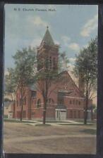Postcard Owosso Mi M.E. Methodist Episcopal Church w/Tall Bell Tower 1907
