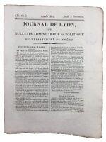 Manufacture de Lyon 1814 Mont Cenis Alpes Rhône Sainte Agathe Restauration