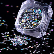 1g BORN PRETTY Holo Nail Flakies 2mm Hexagon Stripe Sequins Glitter Paillette