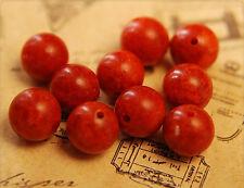 10x echte Korallen Perlen 11mm rot sb154