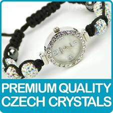Quality Shamballa WATCH Bracelet Real Czech Crystals Disco Balls in PEARLESCENT